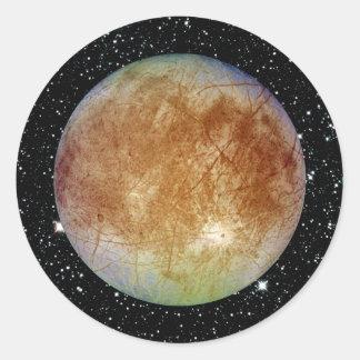 PLANET JUPITER'S MOON EUROPA star background Round Sticker