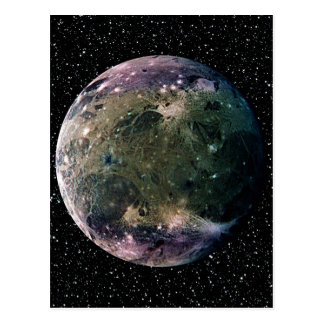 PLANET JUPITER'S MOON GANYMEDE star background ~ Postcard