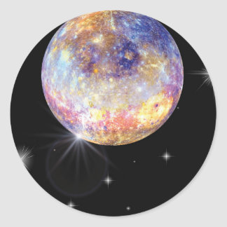 Planet Mercury- Infared Classic Round Sticker