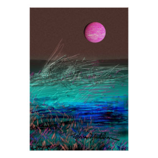 Planet Night Scape Poster