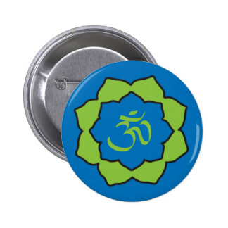 Planet Om blue/green Om Lotus 2 Inch Round Button