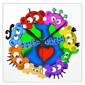 Planet Peek-A-Boo Logo Design Clock
