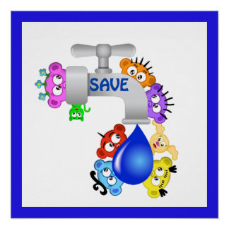 Planet Peek-A-BOO /Save Water design Perfect Poster