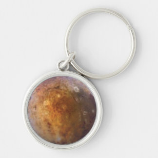 PLANET PLUTO (solar system) ~ Silver-Colored Round Keychain