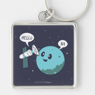Planet Silver-Colored Square Keychain