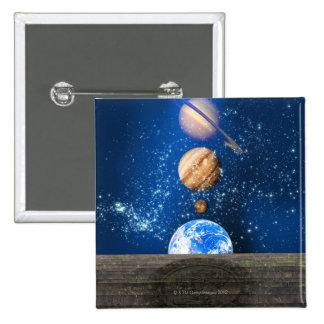 Planetary alignment, computer artwork. 2 inch square button