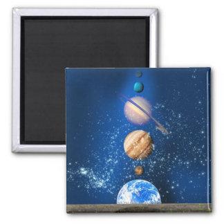 Planetary alignment, computer artwork. square magnet