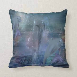 Planetary Dolphins Throw Pillow