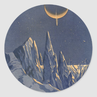 Planète vintage de neige de la science-fiction, sticker rond