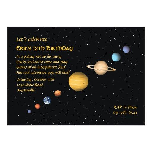 Planètes dans l'invitation de l'espace