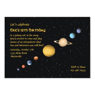 Planètes dans l'invitation de l'espace carton d'invitation  12,7 cm x 17,78 cm