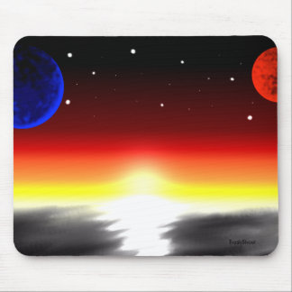 Planets and stars over ocean at sunrise mouse pad