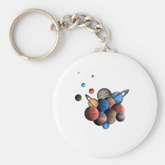 Planets Basic Round Button Keychain