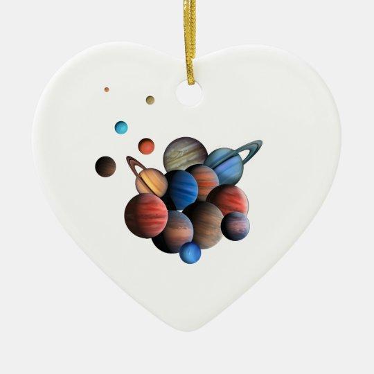 Planets Ceramic Heart Ornament