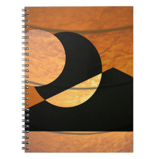 Planets Glow, Black and Copper, Graphic Design Notebook