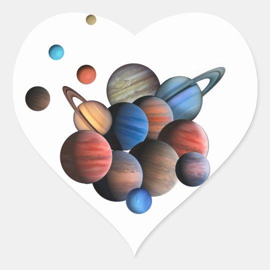 Planets Heart Sticker
