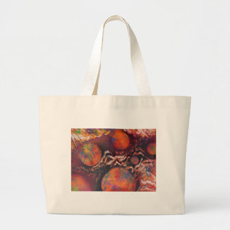 Planets in cosmic waves large tote bag