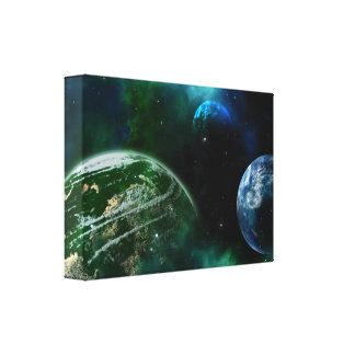 Planets in Space Print Green and Blue Canvas