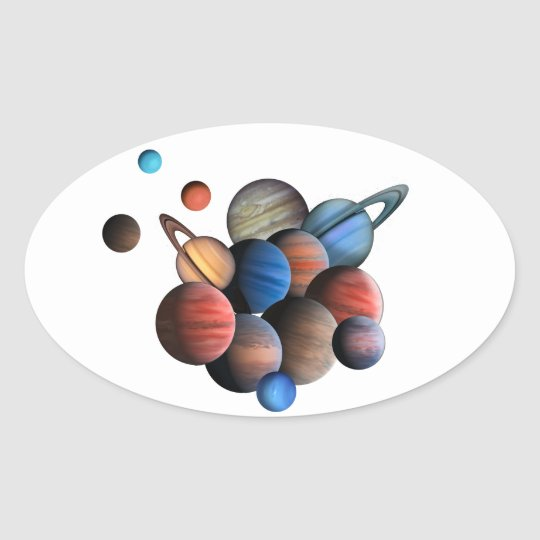 Planets Oval Sticker