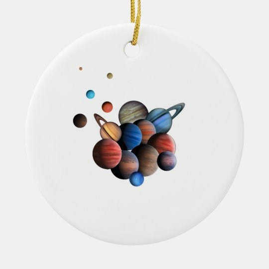 Planets Round Ceramic Ornament