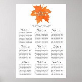 Planificateur de Tableau de dîner de thanksgiving Poster
