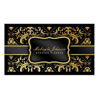 Planificateur élégant de mariage damassé de noir e modèle de carte de visite