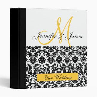 Planificateur jaune noir et blanc de mariage classeur vinyle