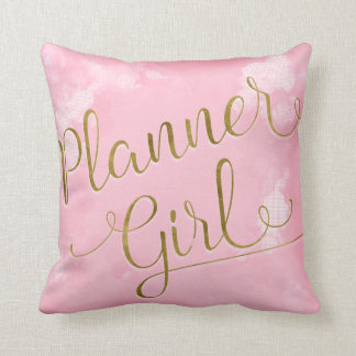Planner Girl Pink and Gold Throw Pillow