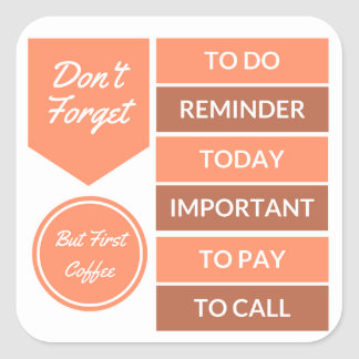 Planner Stickers: Daily Reminder in Orange Square Sticker