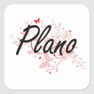 Plano Texas City Artistic design with butterflies Square Sticker