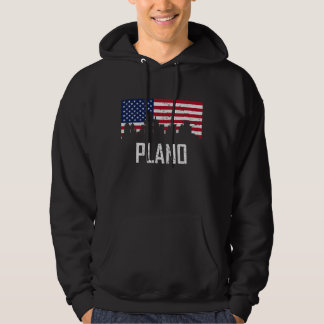 Plano Texas Skyline American Flag Distressed Hoodie