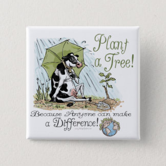Plant a Tree Earth Day Cow Gear 2 Inch Square Button