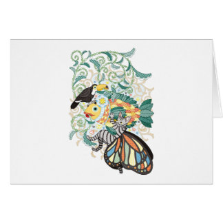 Plant fish and Butterfly cat and Toco toucan Card