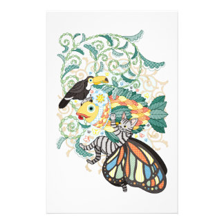 Plant fish and Butterfly cat and Toco toucan Customized Stationery