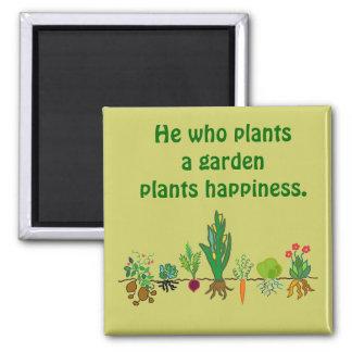 Plant Happiness. Plant a Garden. Veggie Magnet