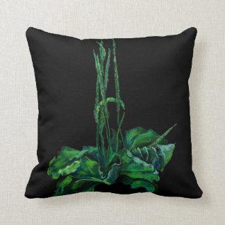 Plantain, floral art green & black summer greenery throw pillow