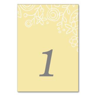 Plantation Table Number Card - Lemon