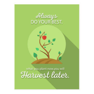 Planting what you will harvest green flat design postcard