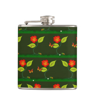 Plants and flowers hip flask