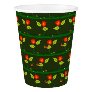 Plants and flowers paper cup