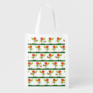 Plants and flowers reusable grocery bags