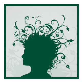 Plants growing from human head poster