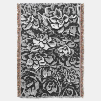 Plants of Black And White Throw Blanket