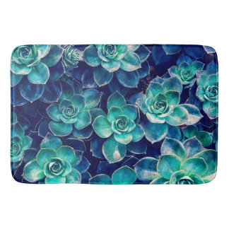 Plants of Blue And Green Bath Mat