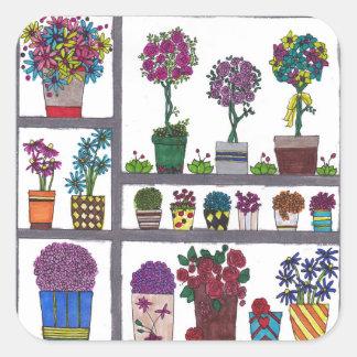 Plants on Shelves Square Sticker