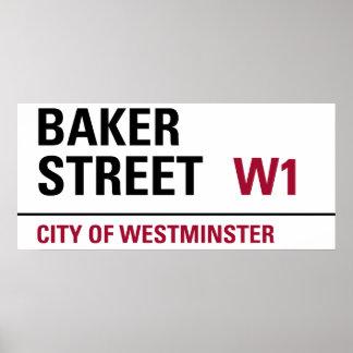 Plaque de rue de Baker Poster