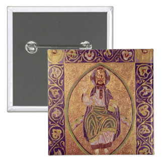 Plaque depicting Christ blessing 2 Inch Square Button