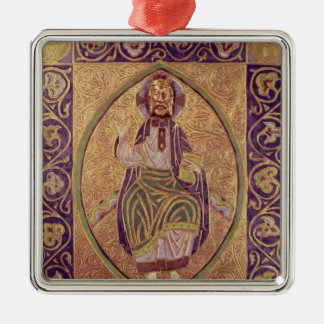 Plaque depicting Christ blessing Silver-Colored Square Ornament