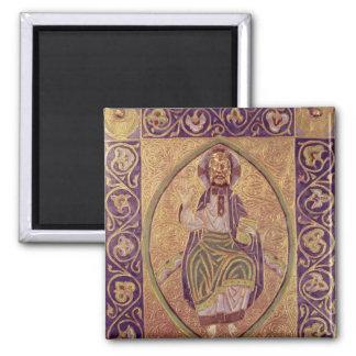 Plaque depicting Christ blessing Square Magnet