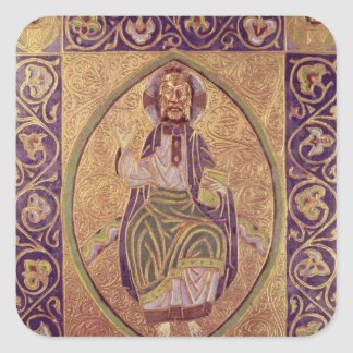 Plaque depicting Christ blessing Square Sticker